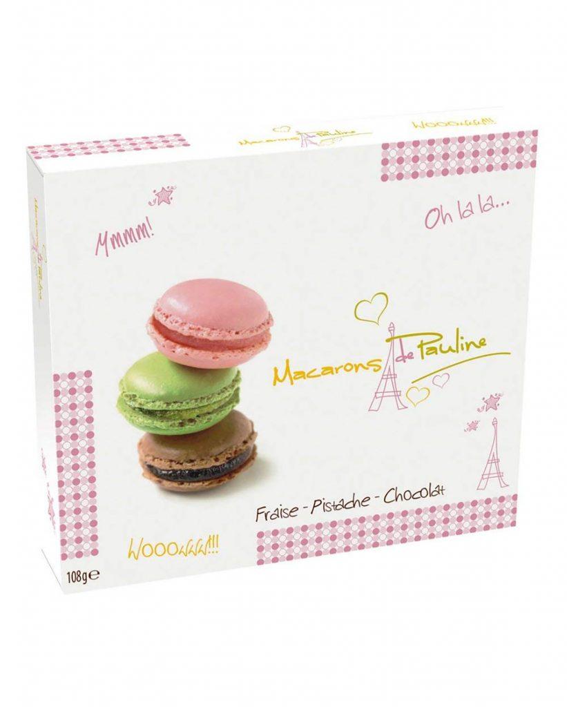 Biscuit de Pauline Macarons Manteli-Mansikkatiivisteellä, Pistaasipähkinöillä ja Suklaalla 108g