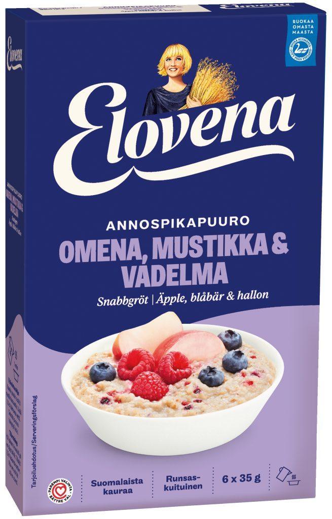 Elovena Hetki Omena-Mustikka-Vadelma Annospikapuuro 210g (L,M)