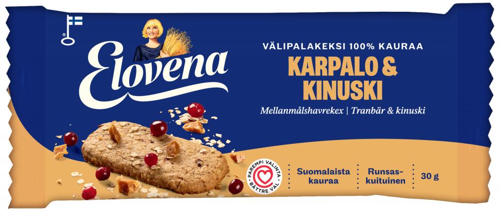 Elovena Karpalo-Kinuski Välipalakeksi 100% Kauraa 30g (L)