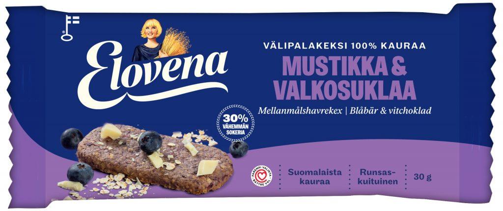 Elovena Mustikka-Valkosuklaa Välipalakeksi 100% Kauraa 30G