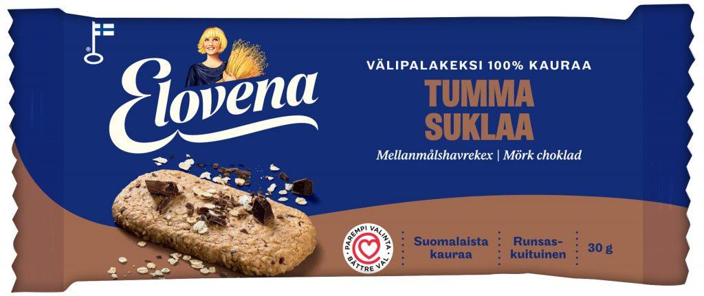 Elovena Tumma Suklaa Välipalakeksi 100% Kauraa 30g (L)