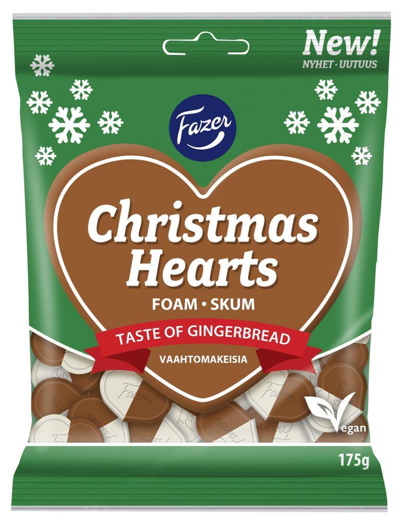 Fazer Christmas Hearts Vaahtomakeinen 175g (G,L,M)
