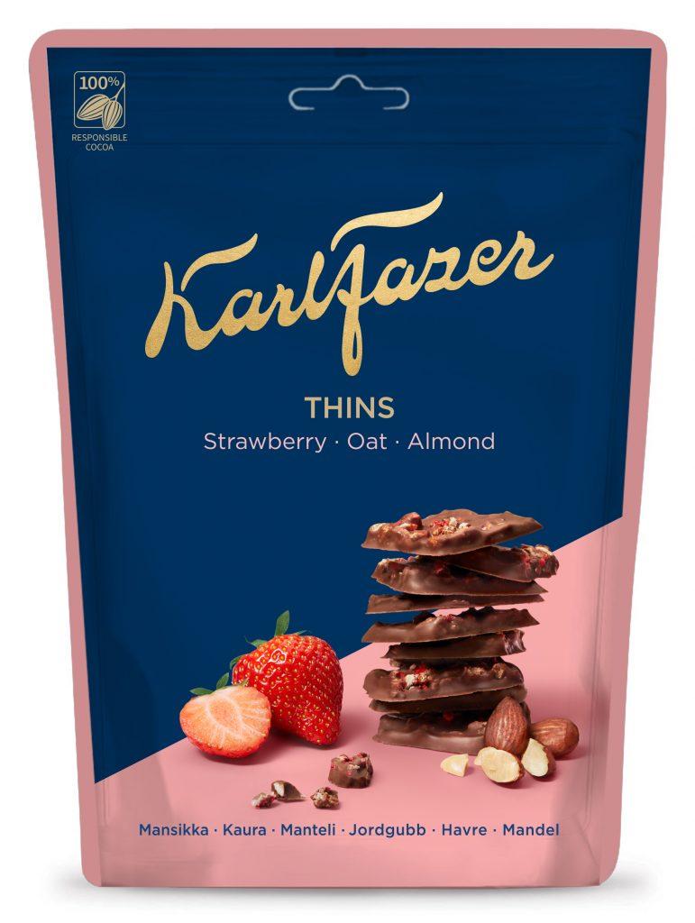 Fazer Karl Fazer Crunchy Thins Mansikka Kaura Suklaapaloja 90g