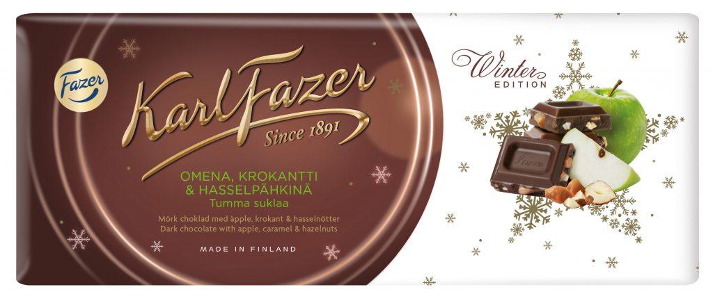 Fazer Karl Fazer Omena, Krokantti ja Hasselpähkinä Tumma suklaalevy 200g