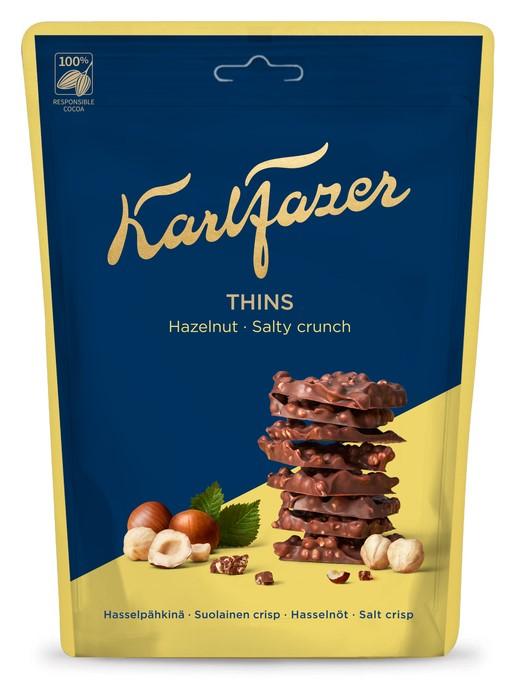 Fazer Karl Fazer Thins Hasselpähkinä Suolainen Crisp Suklaapaloja 90g