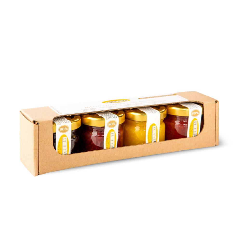 Hommanäs Hillolajitelma Vadelma-Mustikka-Mansikka-Appelsiini  4X35g