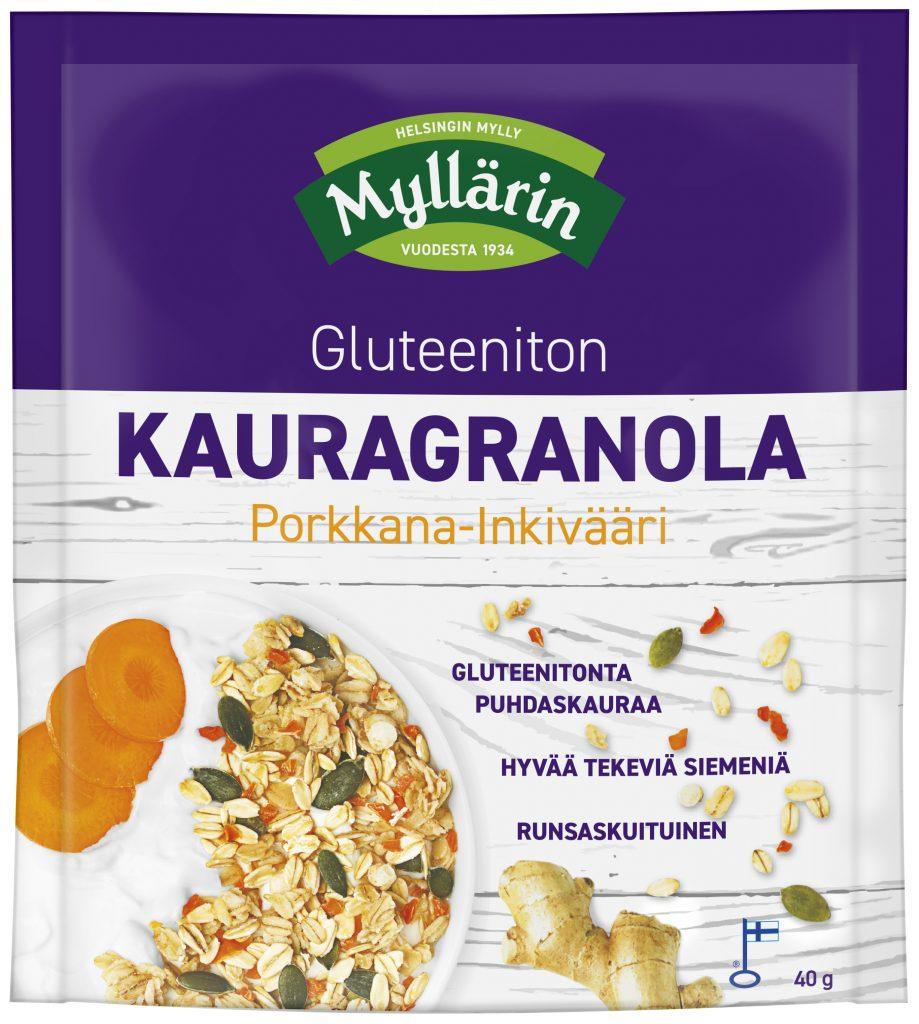 Myllärin Gluteeniton Kauragranola Porkkana-Inkivääri 40g (G,L,M)