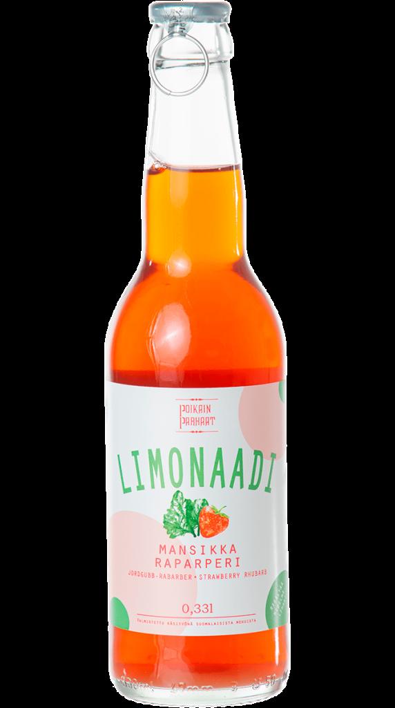 Poikain Parhaat Limonaadi, Mansikka-Raparperi 330ml (G,L,V)