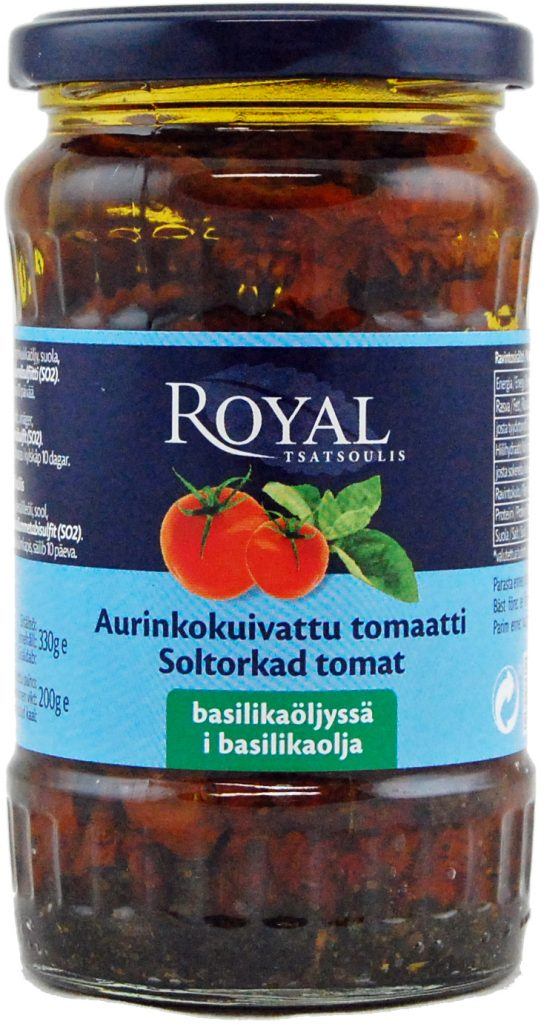 Royal Aurinkokuivattu Tomaatti Basilikaöljyssä 330g (G, L, M)