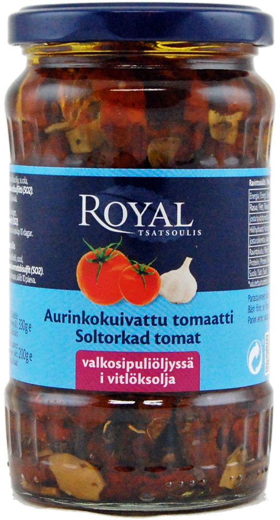 Royal Aurinkokuivattu Tomaatti Valkosipuliöljyssä 330g (G, L, M)