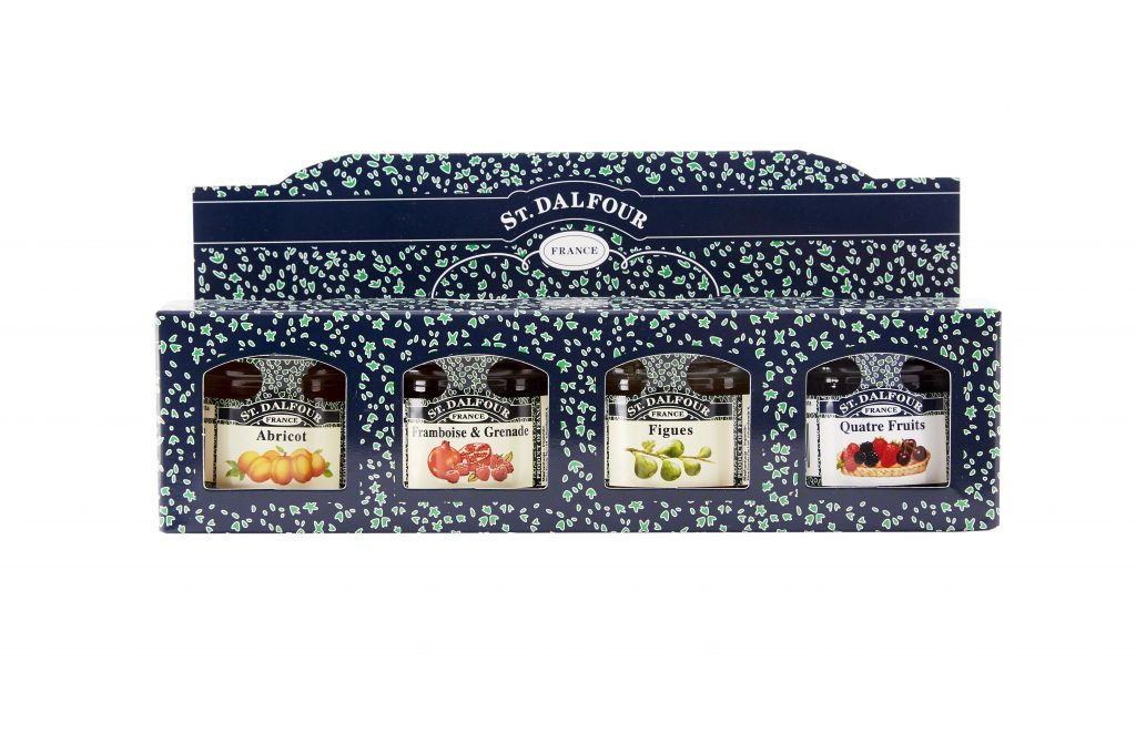 St. Dalfour Hillolajitelma viikuna, vadelma-granaattiomena, aprikoosi, 4-marjaa 4 x 28g
