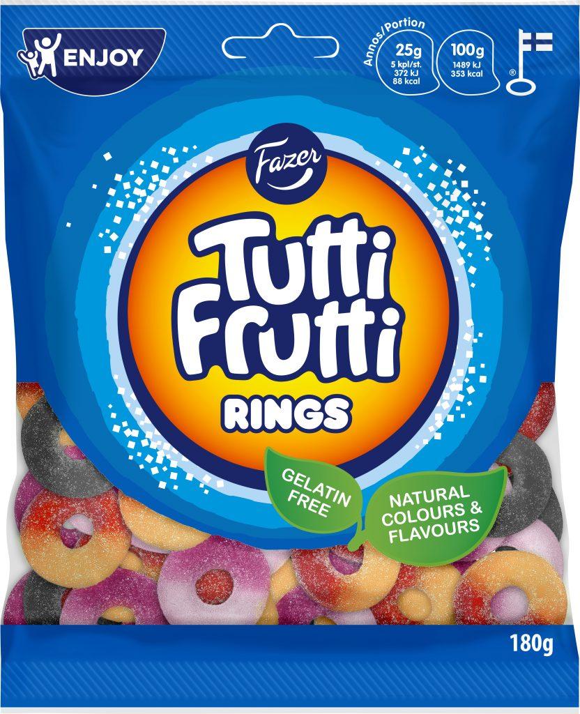 Tutti Frutti Rings Makeispussi 180g (M,L)