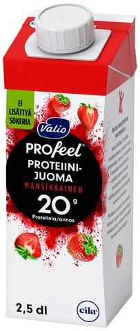 Valio Profeel Proteiinijuoma Mansikkainen Sokeroimaton UHT 2,5dl (L)
